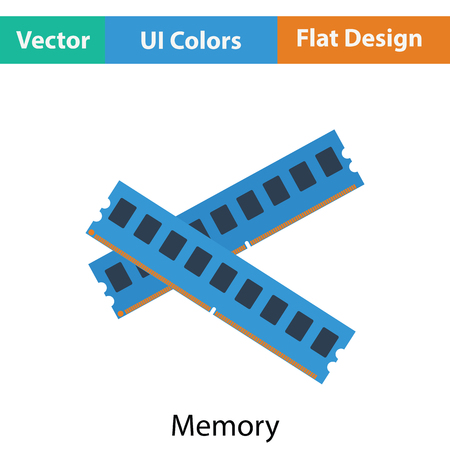 Computer memory icon. Flat color design. Vector illustration.