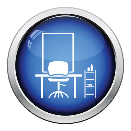 barbershop: Barbershop icon. Glossy button design. Vector illustration.