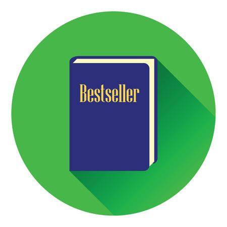 novels: Bestseller book icon. Flat color design. Vector illustration.