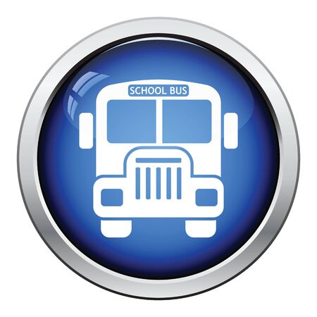 back view student: Icon of School bus. Glossy button design. Vector illustration.