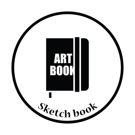 sketch book: Sketch book icon. Thin circle design. Vector illustration.