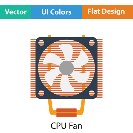 heat sink: CPU Fan icon. Flat color design. Vector illustration. Illustration