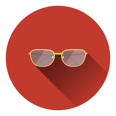 glasses icon: Glasses icon. Flat color design. Vector illustration.