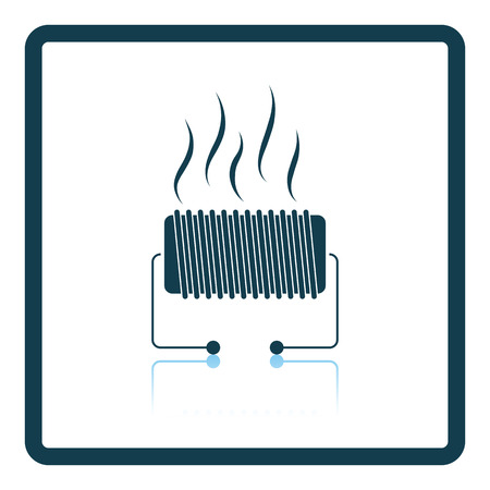 single coil: Electrical heater icon. Shadow reflection design. Vector illustration.