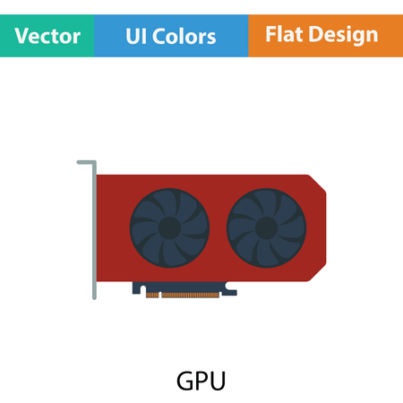 gpu: GPU icon. Flat color design. Vector illustration.