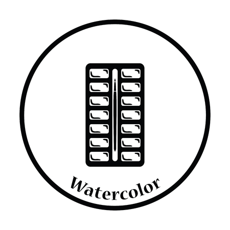 paintbox: Watercolor paint-box icon. Thin circle design. Vector illustration. Illustration