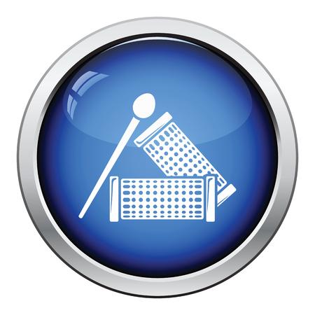 rulos: icono de rizadores de pelo. Diseño brillante del botón. Ilustración del vector.