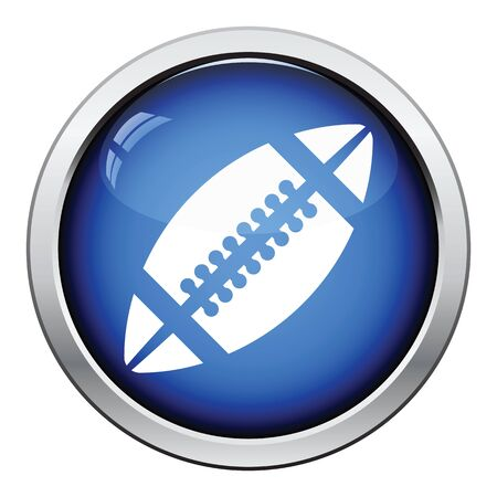 team game: Icon of American football ball. Glossy button design. Vector illustration.