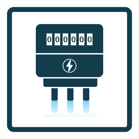 contador electrico: icono eléctrica metros. diseño de la sombra reflexión. Ilustración del vector. Vectores