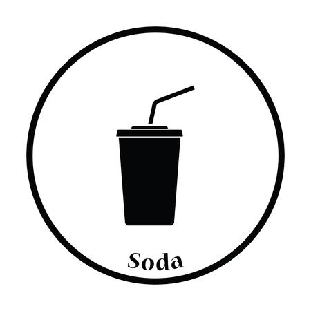 sip: Cinema soda drink icon. Thin circle design. Vector illustration.