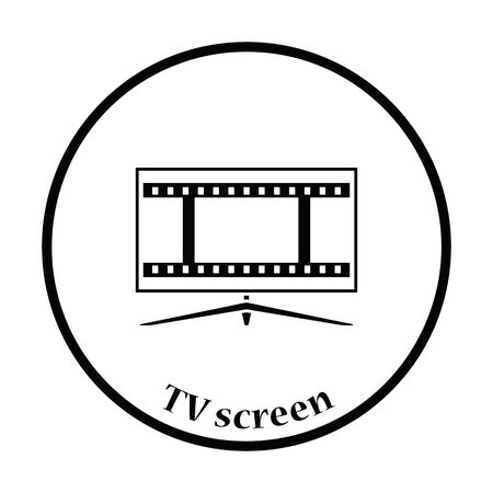 tv screen: Cinema TV screen icon. Thin circle design. Vector illustration.