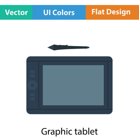 digitizer: Graphic tablet icon. Flat color design. Vector illustration. Illustration