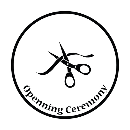 inaugural: Ceremony ribbon cut icon. Thin circle design. Vector illustration.