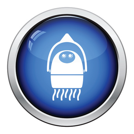 blow drying: Hairdryer icon. Glossy button design. Vector illustration.