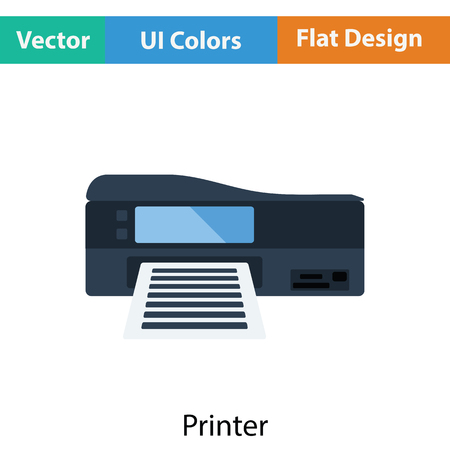 laser printer: Printer icon. Flat color design. Vector illustration.