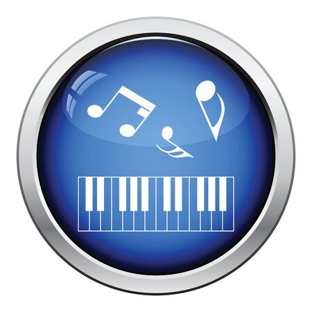octaves: Icon of Piano keyboard. Glossy button design. Vector illustration. Illustration