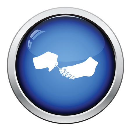 toenail: Pedicure icon. Glossy button design. Vector illustration.