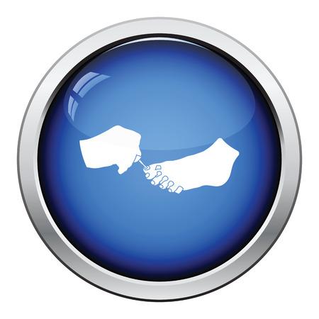 toenail: Pedicure icon. Glossy button design. Vector illustration.