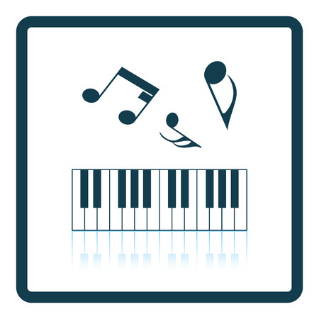 octaves: Icon of Piano keyboard. Shadow reflection design. Vector illustration.