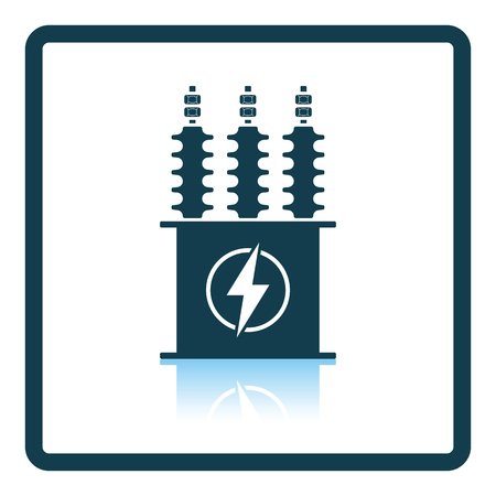 transformer: Electric transformer icon. Shadow reflection design. Vector illustration.