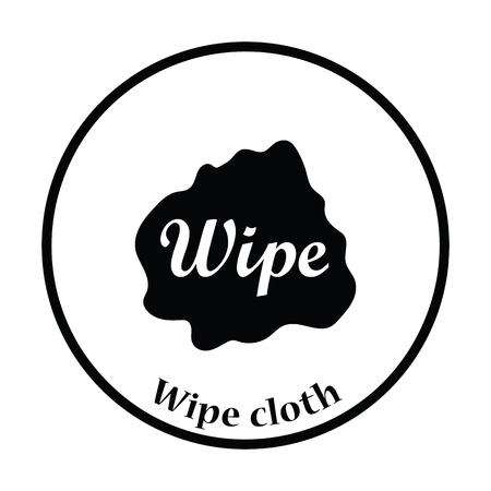 wipe: Wipe cloth icon. Thin circle design. Vector illustration.