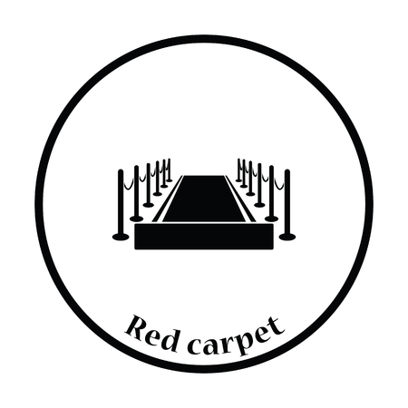 icon red: Red carpet icon. Thin circle design. Vector illustration. Illustration