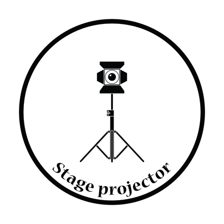 stage projector: Stage projector icon. Thin circle design. Vector illustration. Illustration