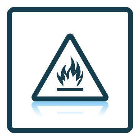 hazardous area sign: Flammable icon. Shadow reflection design. Vector illustration.