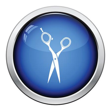 hair scissors: Hair scissors icon. Glossy button design. Vector illustration.