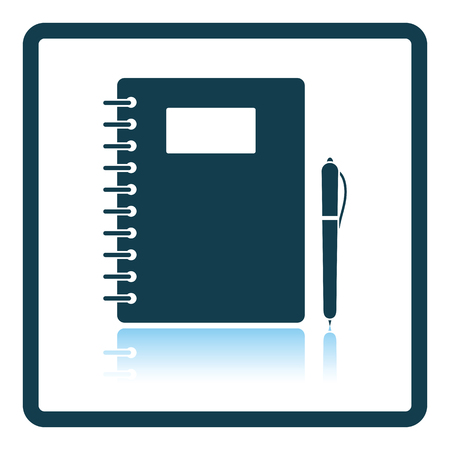 exercise book: Icon of Exercise book. Shadow reflection design. Vector illustration.