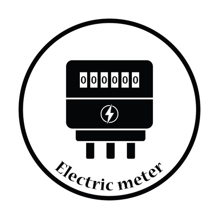 electric system: Electric meter icon. Thin circle design. Vector illustration.