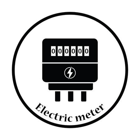 contador electrico: icono eléctrica metros. diseño del círculo delgada. Ilustración del vector.