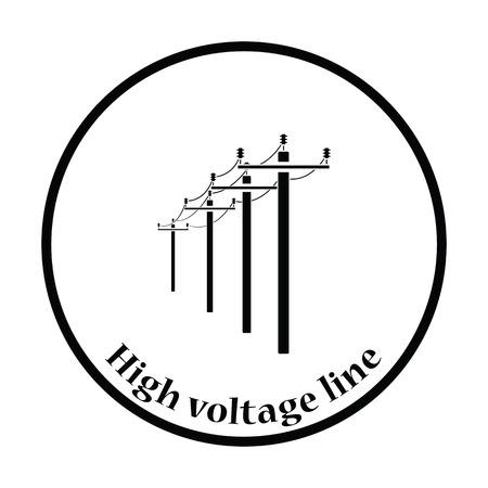 High voltage line icon. Thin circle design. Vector illustration.