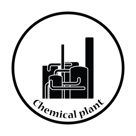 chemical plant: Chemical plant icon. Thin circle design. Vector illustration.