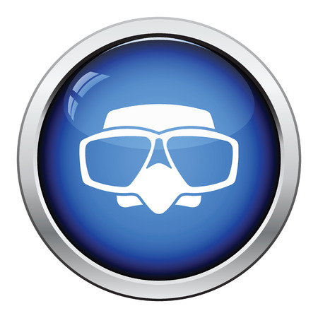 deep sea fishing: Icon of scuba mask . Glossy button design. Vector illustration. Illustration