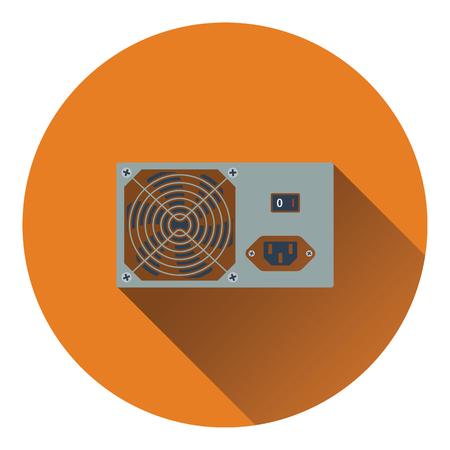 psu: Power unit icon. Flat color design. Vector illustration.
