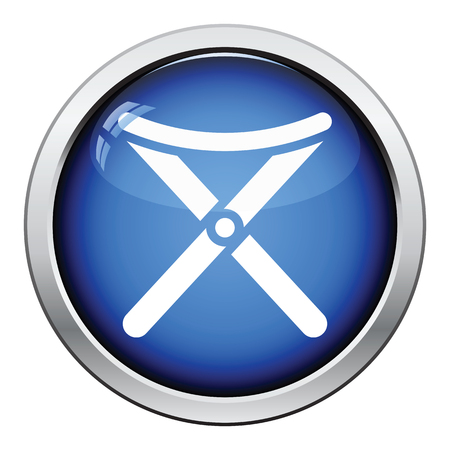 legged: Icon of Fishing folding chair. Glossy button design. Vector illustration. Illustration