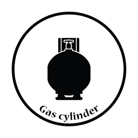 lpg: Gas cylinder icon. Thin circle design. Vector illustration.