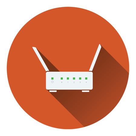 adsl: WiFi router icon. Flat color design. Vector illustration.