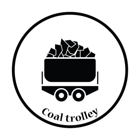 Mine coal trolley icon. Thin circle design. Vector illustration.
