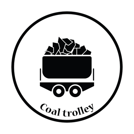 raw material: Mine coal trolley icon. Thin circle design. Vector illustration. Illustration