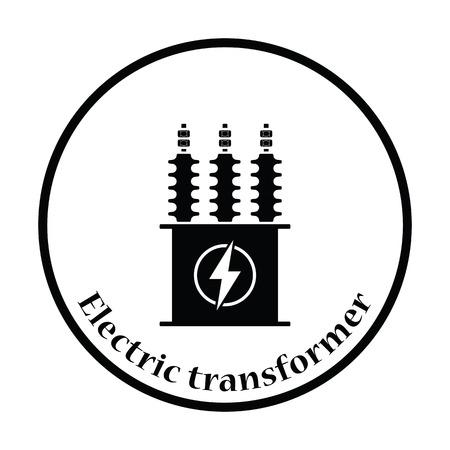 Électrique icône de transformateur. cercle design mince. Vector illustration.