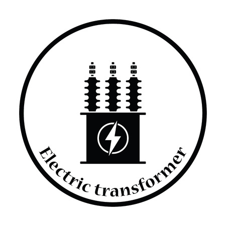 Electric transformer icon. Thin circle design. Vector illustration.