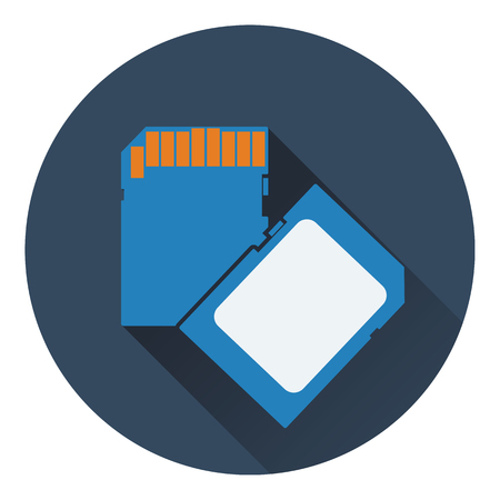 micro drive: Memory card icon. Flat color design. Vector illustration.