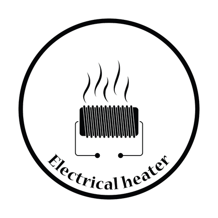 single coil: Electrical heater icon. Thin circle design. Vector illustration.