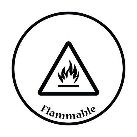 hazardous area sign: Flammable icon. Thin circle design. Vector illustration.