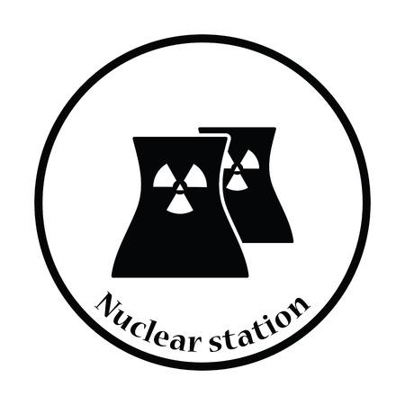 vector nuclear: Nuclear station icon. Thin circle design. Vector illustration. Illustration