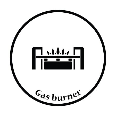 gas burner: Gas burner icon. Thin circle design. Vector illustration. Illustration