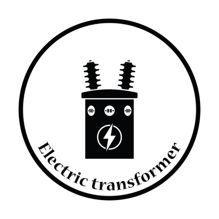 transformer: Electric transformer icon. Thin circle design. Vector illustration. Illustration