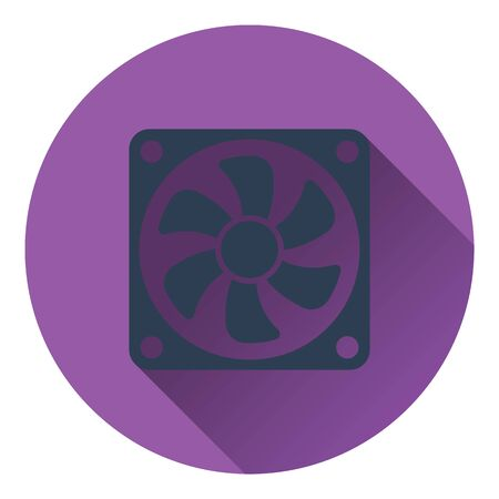 color fan: Fan icon. Flat color design. Vector illustration.